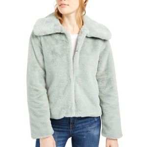 NWT Macys seafoam green faux fur jacket
